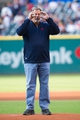 Aug 15, 2014; Cleveland, OH, USA; Cleveland Indians former pitcher Doug Jones acts like he can't see the plate before throwing out the ceremonial first pitch before the game between the Cleveland Indians and the Baltimore Orioles at Progressive Field. Mandatory Credit: Ken Blaze-USA TODAY Sports