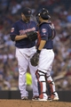 Aug 15, 2014; Minneapolis, MN, USA; Minnesota Twins catcher Kurt Suzuki (8) talks to starting pitcher Ricky Nolasco (47) during the fourth inning against the Kansas City Royals at Target Field. Mandatory Credit: Jesse Johnson-USA TODAY Sports