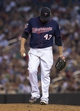 Aug 15, 2014; Minneapolis, MN, USA; Minnesota Twins starting pitcher Ricky Nolasco (47) looks down to the mound after giving up five runs in the fourth inning against Kansas City Royals at Target Field. Mandatory Credit: Jesse Johnson-USA TODAY Sports