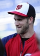 Aug 16, 2014; Washington, DC, USA; Washington Nationals left fielder Bryce Harper (34) on the field before the game against the Pittsburgh Pirates at Nationals Park. Mandatory Credit: Brad Mills-USA TODAY Sports