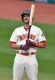 Aug 16, 2014; Cleveland, OH, USA; Cleveland Indians third baseman Lonnie Chisenhall (8) reacts after striking out in the first inning against the Baltimore Orioles at Progressive Field. Mandatory Credit: David Richard-USA TODAY Sports