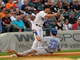 Aug 16, 2014; Chicago, IL, USA; Toronto Blue Jays center fielder Colby Rasmus (28) slides safely into third base with Chicago White Sox third baseman Conor Gillaspie (12) taking the throw during the fifth inning at U.S Cellular Field. Mandatory Credit: Dennis Wierzbicki-USA TODAY Sports