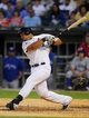 Aug 16, 2014; Chicago, IL, USA; Chicago White Sox first baseman Jose Abreu (79) hits a single during the sixth inning against the Toronto Blue Jays at U.S Cellular Field. Mandatory Credit: Dennis Wierzbicki-USA TODAY Sports