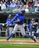 Aug 17, 2014; Chicago, IL, USA; Toronto Blue Jays shortstop Jose Reyes (7) hits a single against the Chicago White Sox during the fifth inning at U.S Cellular Field. Mandatory Credit: David Banks-USA TODAY Sports