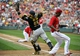 Aug 17, 2014; Washington, DC, USA; Washington Nationals right fielder Michael Taylor (18) scores on an error by Pittsburgh Pirates first baseman Ike Davis (not shown) as catcher Russell Martin (55) does not control the throw during the seventh inning at Nationals Park. Mandatory Credit: Brad Mills-USA TODAY Sports