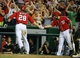 Aug 17, 2014; Washington, DC, USA; Washington Nationals right fielder Jayson Werth (28) is congratulated by third baseman Anthony Rendon (6) after scoring a run against the Pittsburgh Pirates during the ninth inning at Nationals Park. The Nationals won 6-5. Mandatory Credit: Brad Mills-USA TODAY Sports