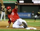 Aug 17, 2014; Washington, DC, USA; Washington Nationals right fielder Jayson Werth (28) slides into third base against the Pittsburgh Pirates during the ninth inninge at Nationals Park. The Nationals won 6-5. Mandatory Credit: Brad Mills-USA TODAY Sports