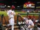 Aug 19, 2014; St. Louis, MO, USA; St. Louis Cardinals pinch hitter Daniel Descalso (33) is congratulated by manager Mike Matheny (22) after driving in the game tying run during the eighth inning against the Cincinnati Reds at Busch Stadium. The Cardinals defeated the Reds 5-4. Mandatory Credit: Jeff Curry-USA TODAY Sports