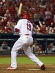 Aug 19, 2014; St. Louis, MO, USA; St. Louis Cardinals center fielder Jon Jay (19) is hit by a pitch from Cincinnati Reds relief pitcher J.J. Hoover (not pictured) allowing the winning run to score during the ninth inning at Busch Stadium. The Cardinals defeated the Reds 5-4. Mandatory Credit: Jeff Curry-USA TODAY Sports