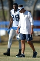 Aug 12, 2014; Oxnard, CA, USA; Dallas Cowboys receiver Dez Bryant (88) and receivers coach Derek Dooley at scrimmage against the Oakland Raiders at River Ridge Fields. Mandatory Credit: Kirby Lee-USA TODAY Sports