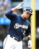 Aug 20, 2014; Milwaukee, WI, USA;  Milwaukee Brewers center fielder Carlos Gomez (27) runs the bases after hitting a 2-run home run in the sixth inning against the Toronto Blue Jays at Miller Park. Mandatory Credit: Benny Sieu-USA TODAY Sports