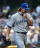 Aug 20, 2014; Milwaukee, WI, USA;  Toronto Blue Jays pitcher R.A. Dickey (43) walks off the mound after giving up 5 runs in 5 plus inning against the Milwaukee Brewers at Miller Park.  Dickey picks up the win as the Blue Jays beat the Brewers 9-5. Mandatory Credit: Benny Sieu-USA TODAY Sports