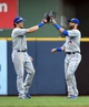 Aug 20, 2014; Milwaukee, WI, USA; Toronto Blue Jays center fielder Colby Rasmus (28) and right fielder Jose Bautista (19) celebrates after the Blue Jays beat the Milwaukee Brewers 9-5 at Miller Park. Ramus and Bautista both hit home runs. Mandatory Credit: Benny Sieu-USA TODAY Sports