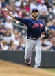 Aug 20, 2014; Minneapolis, MN, USA; Cleveland Indians third baseman Mike Aviles (4) throws the ball to first base for an out in the first inning against the Minnesota Twins at Target Field. Mandatory Credit: Jesse Johnson-USA TODAY Sports