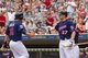 Aug 21, 2014; Minneapolis, MN, USA; Minnesota Twins left fielder Chris Parmelee (27) congratulates right fielder Oswaldo Arcia (31) after scoring in the sixth inning against the Cleveland Indians at Target Field. The Minnesota Twins win 4-1. Mandatory Credit: Brad Rempel-USA TODAY Sports