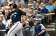 Aug 20, 2014; Milwaukee, WI, USA;  Milwaukee Brewers first baseman Mark Reynolds (7) during the game against the Toronto Blue Jays at Miller Park. Mandatory Credit: Benny Sieu-USA TODAY Sports