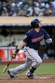 Aug 8, 2014; Oakland, CA, USA; Minnesota Twins Chris Parmelee (27) against the Oakland Athletics in the third inning of their MLB baseball game at O.co Coliseum. Mandatory Credit: Lance Iversen-USA TODAY Sports