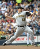 Aug 24, 2014; Milwaukee, WI, USA;   Pittsburgh Pirates pitcher Vance Worley (46) pitches in the first inning against the Milwaukee Brewers at Miller Park. Mandatory Credit: Benny Sieu-USA TODAY Sports