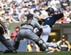 Aug 24, 2014; Milwaukee, WI, USA;   Milwaukee Brewers right fielder Ryan Braun (8) is tagged out by Pittsburgh Pirates catcher Russell Martin (55) while trying to score in the second inning at Miller Park. Mandatory Credit: Benny Sieu-USA TODAY Sports