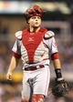 Aug 29, 2014; Pittsburgh, PA, USA; Cincinnati Reds catcher Devin Mesoraco (39) looks on against the Pittsburgh Pirates during the sixth inning at PNC Park. The Pirates won 2-1. Mandatory Credit: Charles LeClaire-USA TODAY Sports