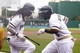 Aug 31, 2014; Pittsburgh, PA, USA; Pittsburgh Pirates center fielder Andrew McCutchen (L) and third baseman Josh Harrison (R) dance after Harrison hit a lead-off solo home run against the Cincinnati Reds during the first inning at PNC Park. Mandatory Credit: Charles LeClaire-USA TODAY Sports