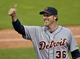 Sep 1, 2014; Cleveland, OH, USA; Detroit Tigers relief pitcher Joe Nathan (36) celebrates a 12-1 over the Cleveland Indians at Progressive Field. Mandatory Credit: David Richard-USA TODAY Sports