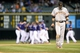 Sep 1, 2014; Denver, CO, USA; San Francisco Giants second baseman Joe Panik (12) reacts after losing on walk off RBI single by Colorado Rockies right fielder Charlie Blackmon (19) in the ninth inning at Coors Field. The Rockies defeated the Giants 10-9. Mandatory Credit: Ron Chenoy-USA TODAY Sports