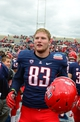 Dec. 15, 2012; Albuquerque, NM, USA; Arizona Wildcats tight end Michael Cooper (83) against the Nevada Wolf Pack in the 2012 New Mexico Bowl at University Stadium. Arizona defeated Nevada 49-48. Mandatory Credit: Mark J. Rebilas-USA TODAY Sports