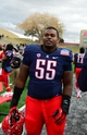 Dec. 15, 2012; Albuquerque, NM, USA; Arizona Wildcats defensive tackle Jowyn Ward against the Nevada Wolf Pack in the 2012 New Mexico Bowl at University Stadium. Arizona defeated Nevada 49-48. Mandatory Credit: Mark J. Rebilas-USA TODAY Sports