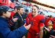 Nov 23, 2013; Tucson, AZ, USA; Arizona Wildcats quarterback B.J. Denker celebrates with fans following the game against the Oregon Ducks at Arizona Stadium. Mandatory Credit: Mark J. Rebilas-USA TODAY Sports