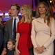 Apr 19, 2016; New York, NY, USA; (From left to right) Republican presidential hopeful Donald Trump (not pictured) speaks as his son-in-law Jared Kushner, daughter Ivanka Trump, granddaughter Arabella Kushner along with wife Melania Trump listen after the New York primary at Trump Tower. Mandatory Credit: Carucha L. Meuse/The Journal News via USA TODAY NETWORK