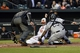 Apr 28, 2016; Baltimore, MD, USA; Chicago White Sox catcher Hector Sanchez (29) tags out Baltimore Orioles first baseman Chris Davis (19) at the plate as he attempts to scoring during the first inning  at Oriole Park at Camden Yards. Mandatory Credit: Tommy Gilligan-USA TODAY Sports