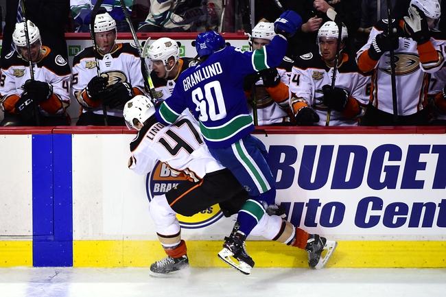 Anaheim Ducks vs. Vancouver Canucks - 11/1/19 NHL Pick, Odds, and Prediction